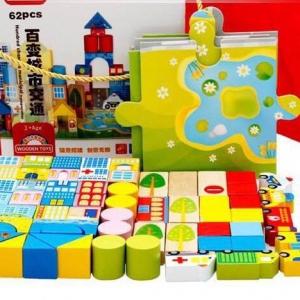 Bộ đồ chơi xếp hình bằng gỗ 62 chi tiết dành cho bé yêu