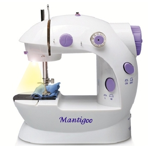 Máy khâu mini MANTIGOO phiên bản mới có đèn và kéo cắt chỉ Italy